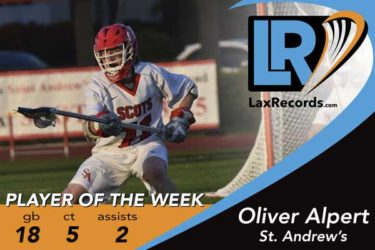 Oliver Alpert earned LaxRecords.com Player of the Week honors for Feb. 26.
