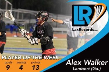 Alex Walker earns LaxRecords.com's Player of the Week for March 6.