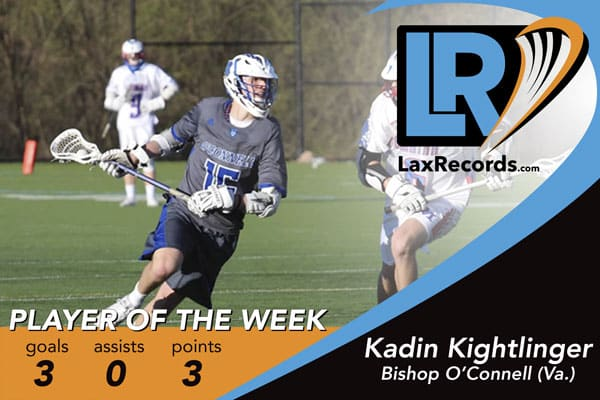 Kadin Kightlinger earned LaxRecords Player of the Week for March 13, 2017.
