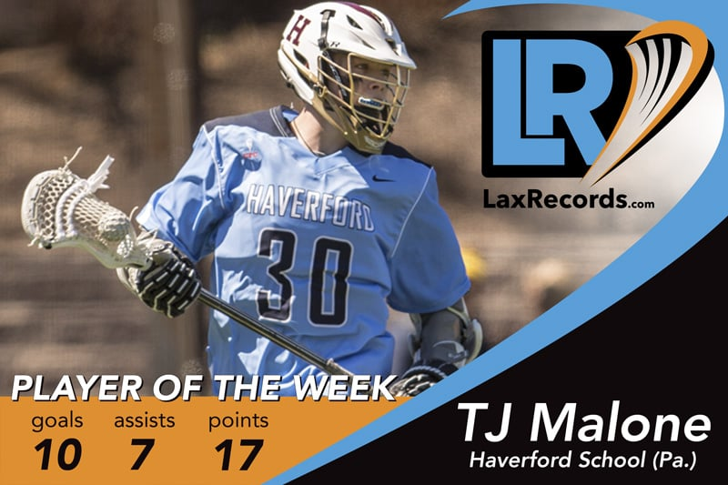 TJ Malone earns LaxRecords.com Player of the Week for April 10, 2017.