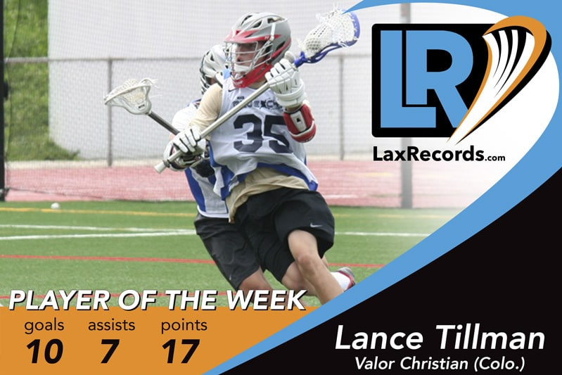 Lance Tillman earns LaxRecords.com's Player of the Week for May 22, 2017.