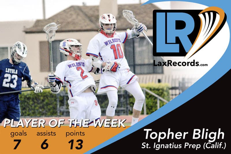 Topher Blight (10) from St. Ignatius Prep (Calif.) is LaxRecords.com Player of the Week for March 5, 2018.