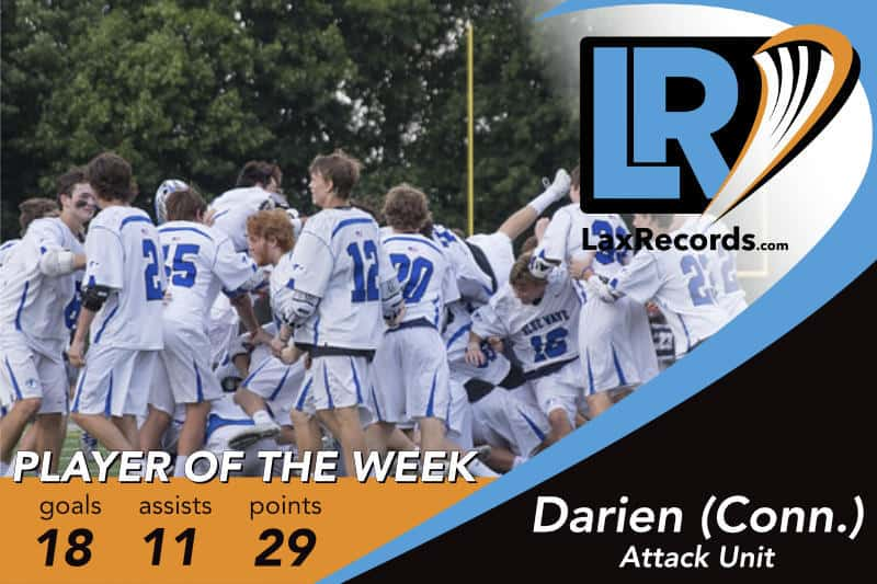 The Darien (Conn.) attack unit earns LaxRecords.com's Player of the Week for April 9, 2018.