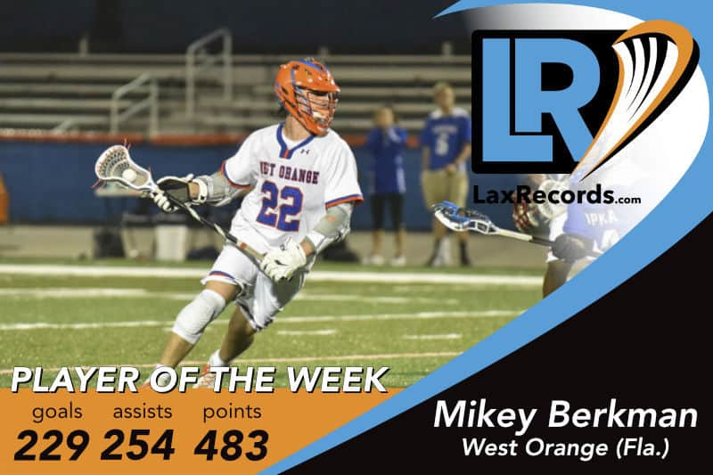 Mikey Berkman from West Orange (Fla.). Photo courtesy: TK Photography for West Orange High School