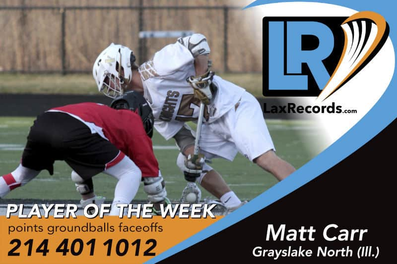 Matt Carr from Grayslake North (Ill.) is LaxRecords.com's Player of the Week for May 21, 2018.