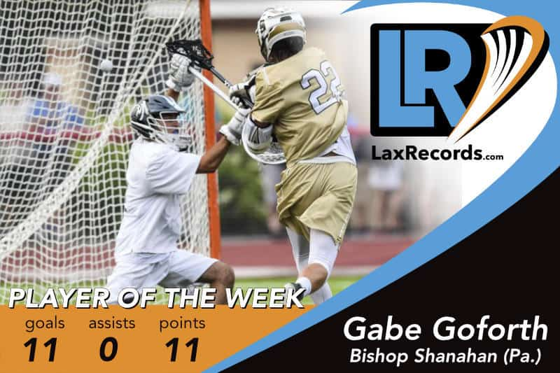 Gabe Goforth from Bishop Shanahan (Pa.) earns LaxRecords.com's Player of the Week for June 11, 2018.