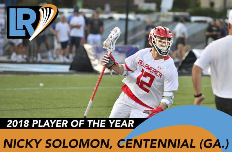 Nicky Solmon earned 2018 LaxRecords Player of the Year. Photo by Mike Loveday