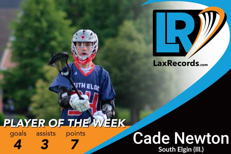 Cade Newton from South Elgin (Ill.) earns LaxRecords.com's Player of the Week.