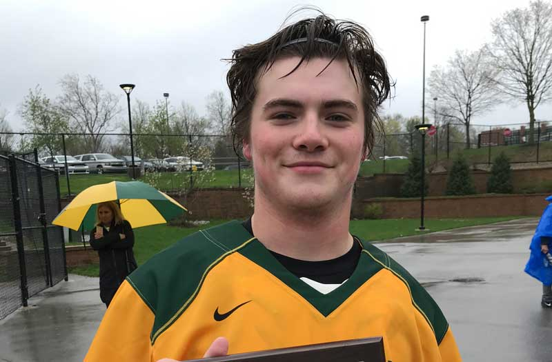 St. Xavier attackman Colin-Lococo was LaxRecords Player of the Game against Carmel. Photo by Michael Ward