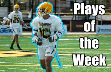 This week's Plays of the Week brings us a behind-the-back goal and stellar saves from the GEICO Lacrosse Showcase, keeping it in the family in Denver and a defenseman getting offensive.