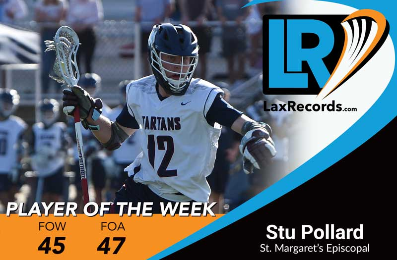 Stu Pollard from St. Margaret's Episcopal (Calif.) earns LaxRecords Player of the Week.