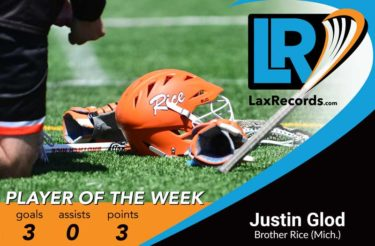 Justin Glod from Brother Rice (Mich.) earns LaxRecords.com's Player of the Week.